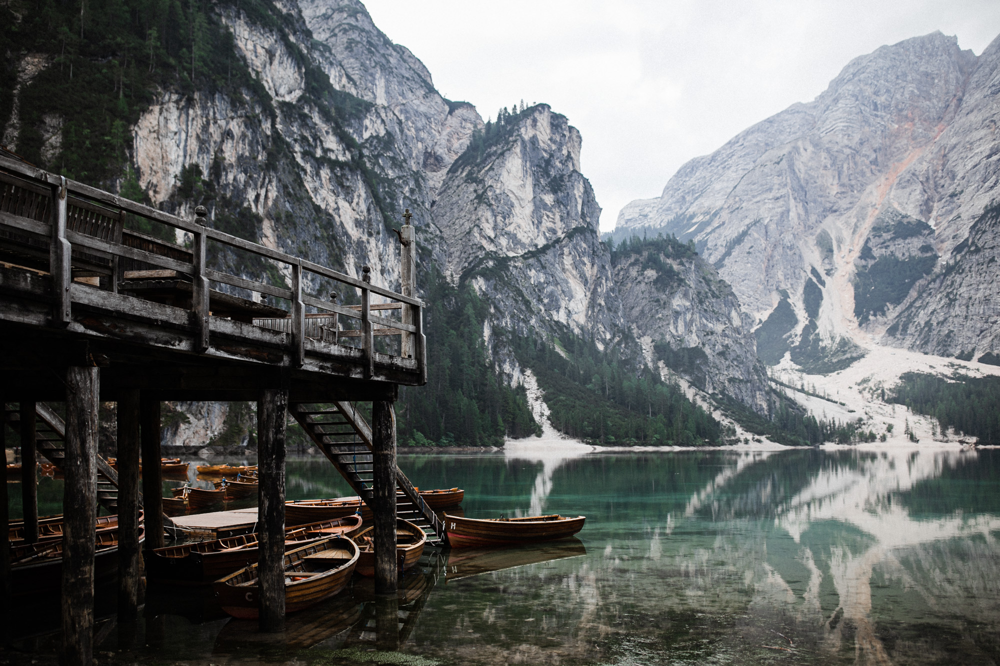 Lago di Braies in the Dolomites in Italy during elopement wedding Ana Galloway Photography