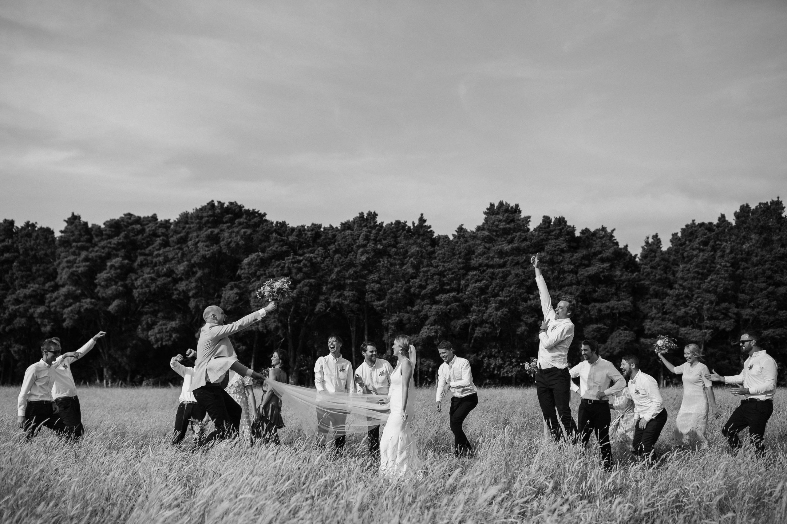 Bridal party dancing in a field of summer grass